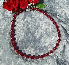 Perlenkette rot metallic Perlen rote klare Bicone Braut Hochzeit Abendkleid *