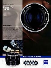 Prospekt Datenblatt Zeiss Kamera Objektiv Planar T 1,4/50 2010 brochure lens
