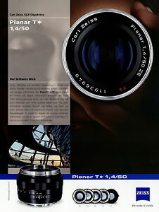 Zeiss Prospekt Datenblatt Kamera-Objektiv Planar T 1,4/50 2010 brochure lenses