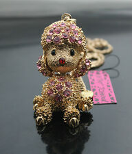 637F    Betsey Johnson Crystal Golden Puppy Dog Poodle Charm Pendant Necklace