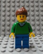 LEGO Minifig Female Green Top Blue Legs Smiling Face Brown Hair