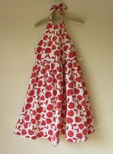 MINI BODEN Apple Print Red White Halter Neck Dress age 5-6
