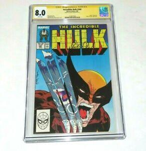 Incredible Hulk #340 1988 CGC 8.0 vs Wolverine Signed SS  Peter David