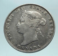 1872 H CANADA UK Queen VICTORIA Authentic Antique Silver 25 Cents Coin i82557