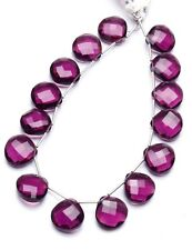 African Amethyst Color Hydro Quartz Faceted 14MM Heart Shape Briolette Beads 9""