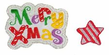 Christmas Merry Xmas & Star Embroidered Iron on Appliques Pack of 2