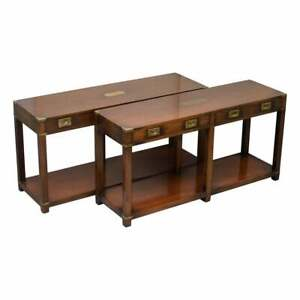 PAIR OF HARRODS LONDON KENNEDY MILITARY CAMPAIGN CONSOLE TABLES WITH DRAWERS
