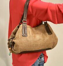FOSSIL Woven Fabric w/Faux Leather Trim Shoulder Bag Satchel