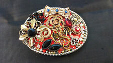 HAND CRAFTED MULTI ORNAMENTED BELT BUCKLE GOLD DRAGON DESIGN
