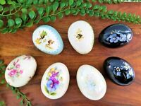 Lot 7 Egg Lady (1) Floral Porcelain Eggs Hand Painted Vintage Easter Collectible