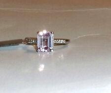 10K White Gold Pink Kunzite Octagon & W Zircon Ring, Size 8, 2.93(TCW), 2.10GR