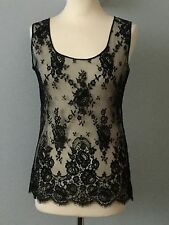 BNWT VINTAGE GIANFRANCO FERRE DESIGNER EXQUISITE SHEER BLACK LACE TOP SIZE S