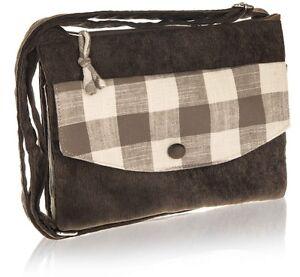 Taupe Bag Cross over Strap Check design Cotton Zip Closure - Fair Trade BNWT