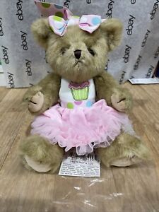 "Bearington Sweetie Cakes Birthday Teddy Bear 10"" Cupcake Girl Poseable Plush"