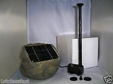 WIRELESS SOLAR POWERED SUBMERSIBLE WATER FOUNTAIN POND 53GPH PUMP PANEL IN ROCK
