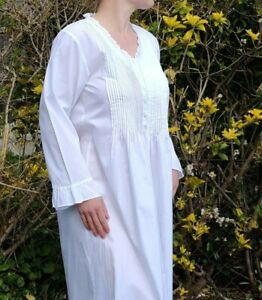 100% cotton white nightdress frill trim vintage Victorian style night gown 10-16