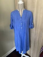 J Mclaughlin Womens Chambray Popover Blue Linen Roll Tab Sleeves Dress Size  M