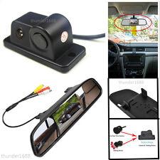 Car Reverse Parking Rearview Mirror Display Monitor+Camera & Radar Alarm Sensor