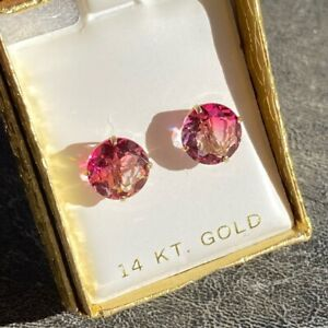 W0W $1100 NEW Pink Sapphire 14K Yellow Gold Earrings Stud Ombre
