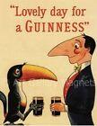Man and Toucan Guinness Irish Beer Vintage Art Print Fridge Magnet