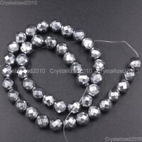 Hematite Gemstone Faceted Round Ball Beads Silver 2mm 3mm 4mm 6mm 8mm 10mm 16''