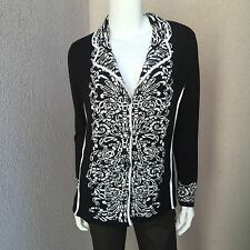 NWT Gelco Woman  Cardigan With Collar SZ 10 US Eur 40 Black White$129 Beautiful!