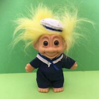 Rare Vintage Russ Sailor Boy Navy Yellow Hair Lucky Troll Toy Figure 1990s