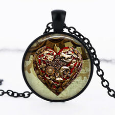 Steampunk heart photo dome Black Cabochon Glass Necklace chain Pendant