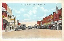 A40/ Blackwell Oklahoma Ok Postcard c1920 South Main Street Stores Autos