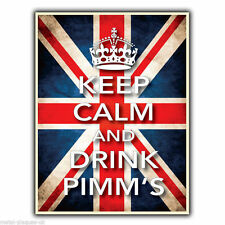 KEEP CALM AND DRINK PIMM'S - METAL SIGN WALL PLAQUE poster picture art print