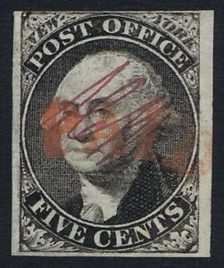 1845 #9X1 New York Postmaster's Provisional Pos 27 Red PAID Very Fine Used