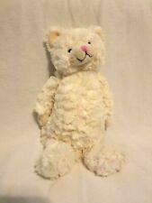 "Chelsea Teddy Bear Ivory White Plush 12"" Kitty Cat Stuffed Animal Pink Nose"