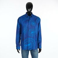 BERLUTI 1080$ Paisley Print Shirt In Blue Silk