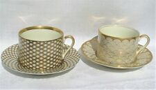 Pair of Fitz & Floyd Teacup Sets Different Patterns Lots of Gold New Condition!