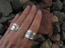 Floral Accent Antique Spoon Ring  R267 Size 10.25 Western Skies Silver
