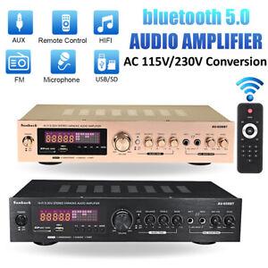 2000W bluetooth 2CH Power Amplifier AMP Hi-Fi Home Stereo FM Radio SD USB 110v