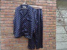 Victoria's Secret Silky Satin 2 PC Blue Geometric Pajama Set Size Large