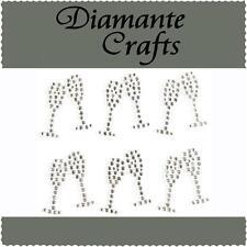 12 x 25mm Clear Diamante Champagne Glasses Self Adhesive Rhinestone Craft Gems