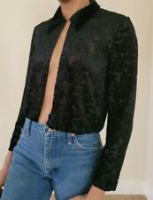 Vintage Plaza South Black Collared Textured Top sz. Small