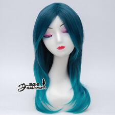 55CM Mixed Blue Ombre Long Women Wavy Lolita Cosplay Wig Heat Resistant+Wig Cap