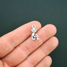 8 Pixie Charms Antique Silver Tone 2 Sided Elf - SC5553