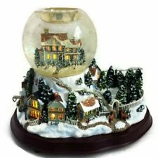 New Retired PartyLite Holiday Wishes Tealight Globe - Musical - Lights - Snow