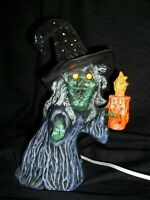 RARE + SCARY VTG LOOK OLD HALLOWEEN WITCH CERAMIC WITCH LIGHT HORRID WART FACE