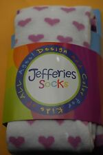 Jefferies Lilac Hearts on White Girls Tights in Size 6-8 Years (50-62 lbs)