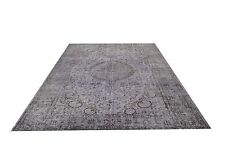 "GRAY  grey TURKISH  oushak  Vintage Overdyed carpet rug 10'2"" x 6'6"""