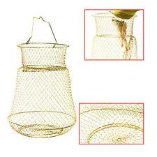 Fold Foldable Bronze Tone Metal Steel Wire Fishing Pot Trap Net Crab Prawn Cage