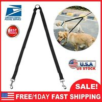 Double Dog Leash Lead Pet Comfortable No Tangle For 2 Dogs Walking Metal Coupler