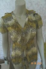 NEXT TWO PIECE FRILL BEIGE PRINT  BLOUSE SIZE 6/8/10  RRP £25 BNWT