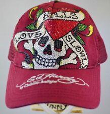 Rare VTG Ed Hardy Love Kills Skull Tattoo Snapback Trucker Hat Cap RHINESTONES