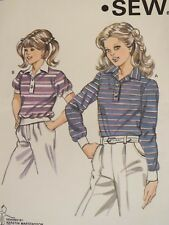 Easy OOP KWIK SEW 1245 Girls Knit Tops or Tab Front Shirt PATTERN 4-5-6-7 UC